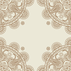 Indian paisley boho floral corners frame. Vector illustration
