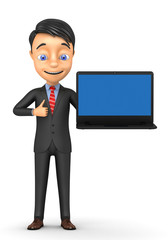 3d cheerful businessman with a laptop on a white background