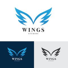 Wings Logo, Eagle wing logo,bird symbol,freedom logo, Sport logo,vector logo template.