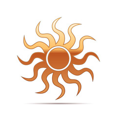 Gold Sun-sign icon on white background. Vector Illustration