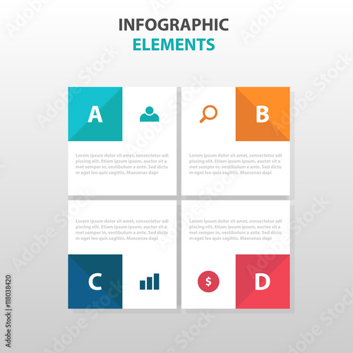 abstract 4 square business infographics elements presentation