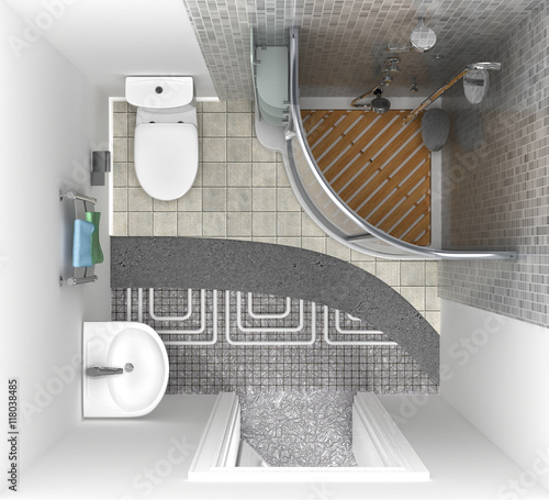 Floor Heating System In The Bathroom Top View 3d Illustration Stock Photo And Royalty Free