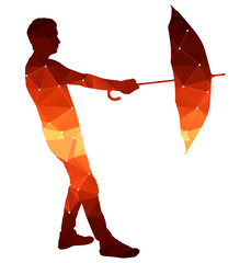 Polygon silhouette of a man with an umbrella.