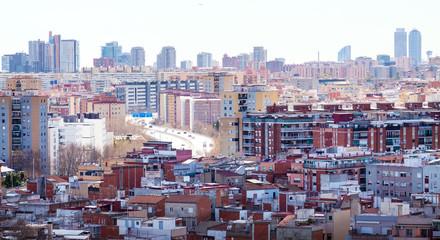 Top view of Badalona and Barcelona