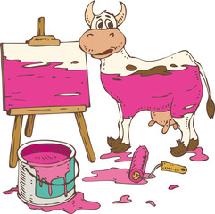 Isolated Spotted Cow Painted in a Pink, Tin Can of Paint