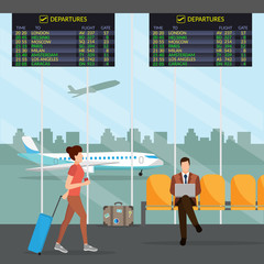 Airport passenger terminal and waiting room. International arrival and departures background vector illustration infographic