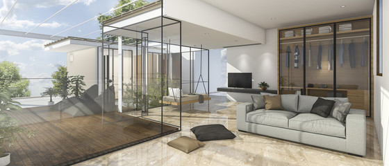 3d rendering nice view living room with reflect stone tile
