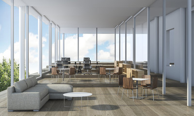 3d rendering nice office interior with beautiful furniture