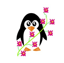 Penguin and Flowers