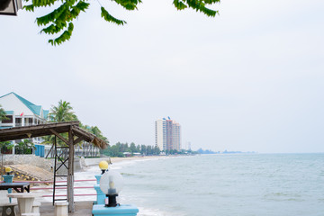 View from resort seaside at chaam,Prachuap Khiri Khan,thailand