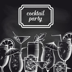 Cocktail party chalkboard background with hand drawn drinks vector