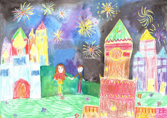 Child's drawing happy family. Man and woman watching fireworks