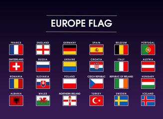 euro flag set with rectangle shape