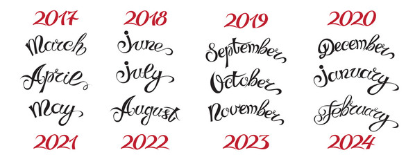 Set hand-drawn lettering months names and namber of year