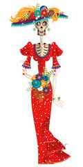 La Calavera Catrina. Elegant Skull. Dia de Muertos. Mexican tradition.