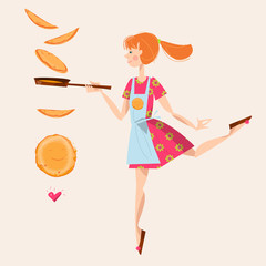 Girl tosses pancakes on a frying pan. Happy Pancake Day!