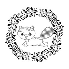 animal drawing within wreath icon vector illustration graphic