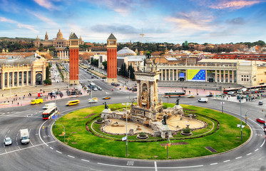 Barcelona, Espana square with MNAC, Spain