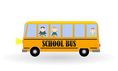 Back to School Background with Yellow Bus and Children. Vector I