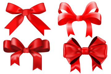 Red ribbon bow. Gift box decoration