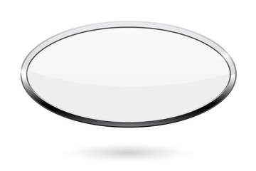 Oval white button. Web icon with chrome frame