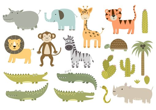 Cute isolated safari animals collection