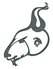 Sketch black silhouette of a goat's head with an earring isolate