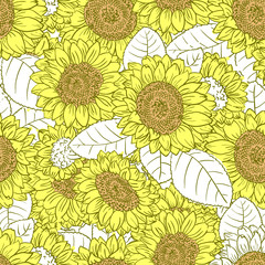 Vector seamless pattern with line art colorful sunflowers
