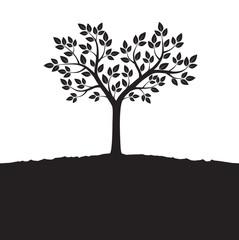Black Vector Tree. Illustration of Bonsai.