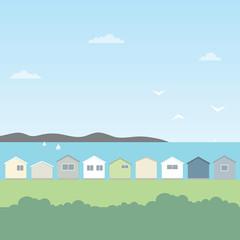 beach houses flat image