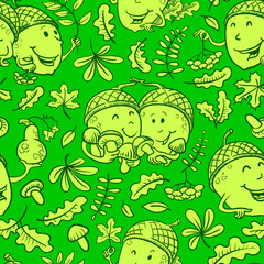 Fall season vector seamless pattern with smiling acorn and autumn leaves in doodle style