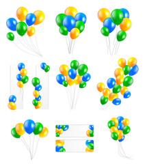 Big Set of  Balloons in Brazil Flag Colors, Vector Illustration