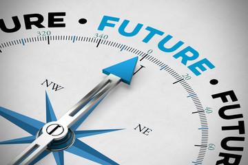 Pfeil von Kompass zeigt auf Future