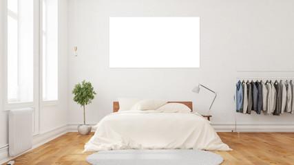Weiße leere Leinwand über Bett