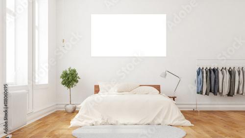 wei e leere leinwand ber bett stockfotos und. Black Bedroom Furniture Sets. Home Design Ideas