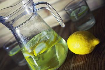 Lemonade in carafe lemon
