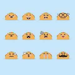 Smile emoji emoticon face in taco with a lot of variation