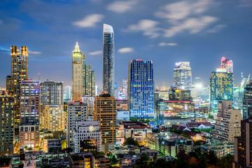 Bangkok city skyline and skyscraper at night in Bangkok,Thailand