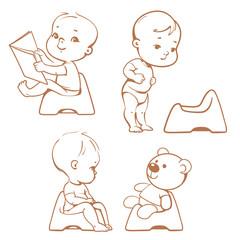 Potty training. Babies in toilet. Sketch.