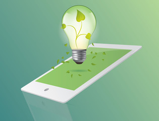 Green ecology bulb with tablet concept. Environment vector illus