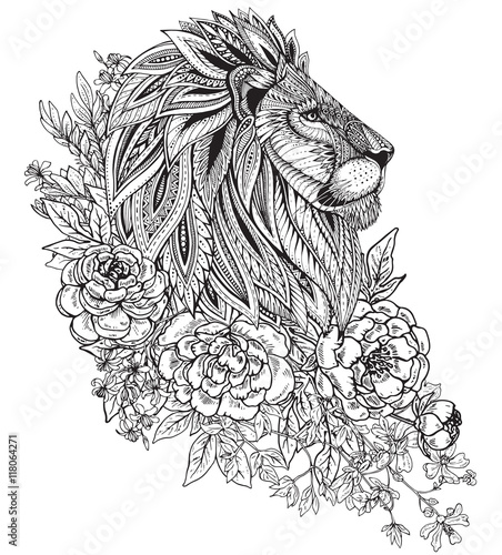 Hand drawn graphic ornate head of lion with ethnic floral doodle