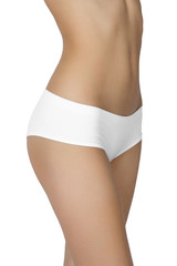 Slim tanned woman's body isolated over white background.