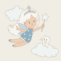 Tooth fairy hand drawn illustration