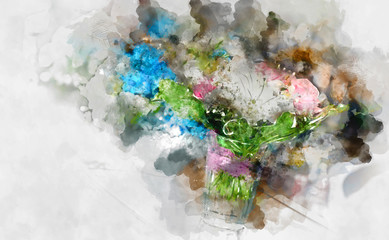 Digital watercolor painting of a beautiful flowers