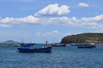 traditional fishing boats in the sea of Vietnam