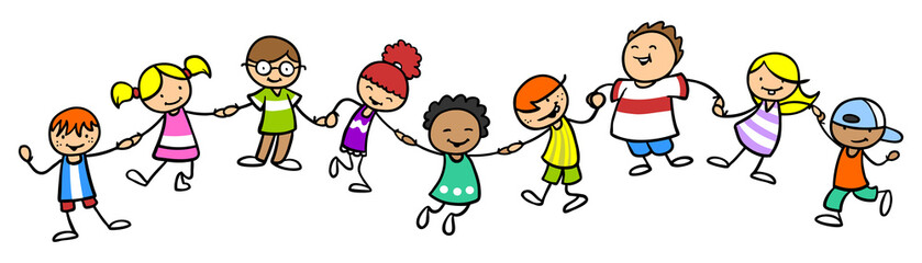 Glückliche Gruppe Kinder bei Hände halten