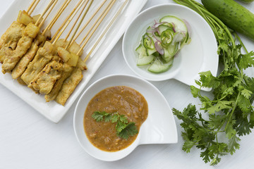 Pork Satay with two sauce and vegetables