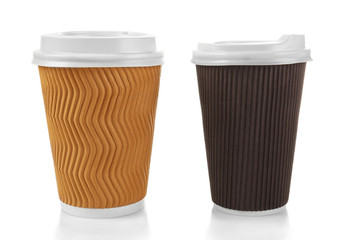 Coffee cardboard cups isolated on white