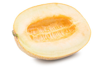 Half of cantaloupe melon isolated on the white background.