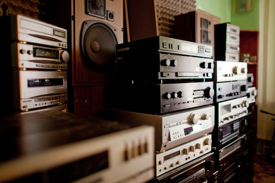 Old hi-fi receivers and tape deck recorders